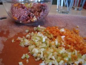 Beef, celery, carrots