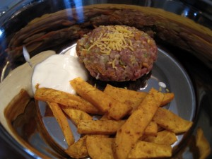 Cheeseburger, sweet potato fries and some yogurt