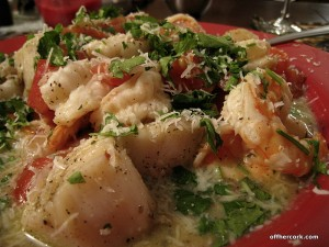 Shrimp and Scallops with garlic wine sauce