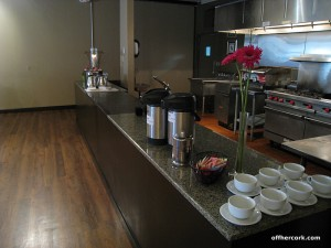 The kitchen at the back of the room