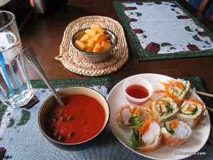 Soup, cantaloupe, spring roll, sushi roll