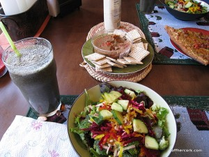 Salad, smoothie, and crackers