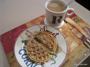 Toasted waffle and coffee