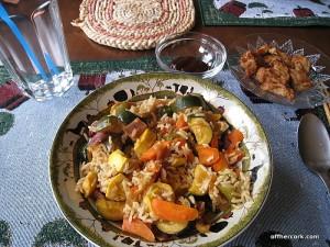 Roasted veggies, brown rice and vegan nuggets