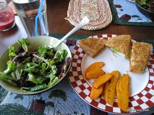 Salad, sweet potato fries, apple cheddar quesadilla