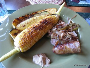 Grilled corn, squash, and brats