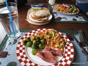 Ham, brussel sprouts, bean salad