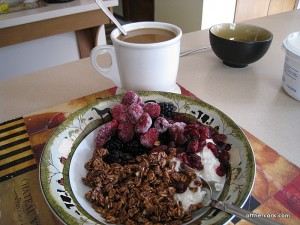 Granola and yogurt with coffee