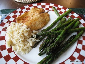 Roasted asparagus, tilapia, and rice