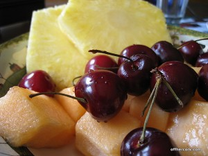 Pineapple, cherries, cantaloupe