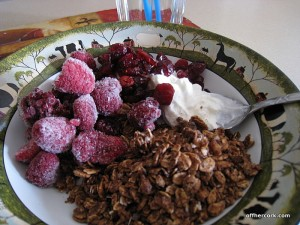 Yogurt, granola and frozen fruit