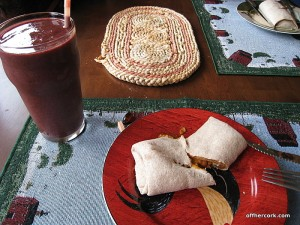Burrito and smoothie