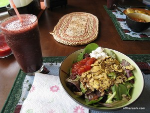 Smoothie and salad