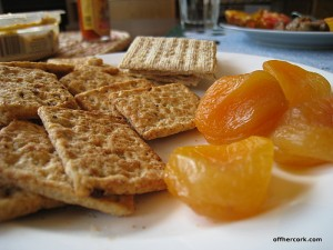 Crackers and dried apricots