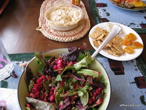 Salad, crackers, and hummus