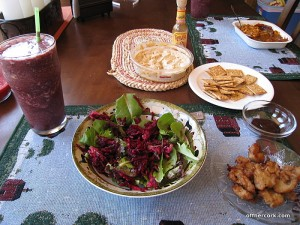 Salad, smoothie, and vegan nuggets