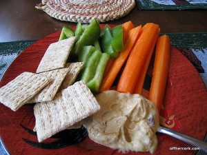 Veggies, crackers, and hummus