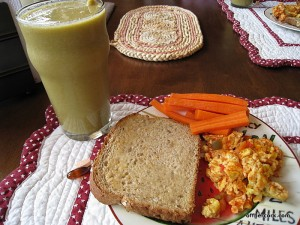 Smoothie, eggs, and toast