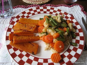 Butternut squash fries and veggies with brown rice