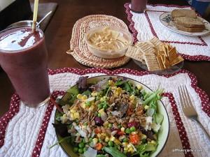 Salad, smoothie, and hummus