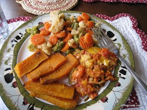 Veggies, butternut squash, shrimp enchiladas