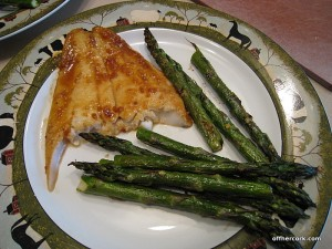 Flounder and roasted asparagus