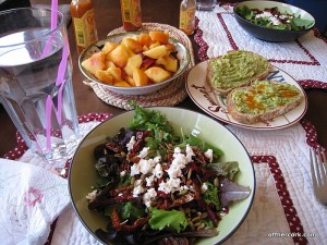 Salad, fruit, and bread