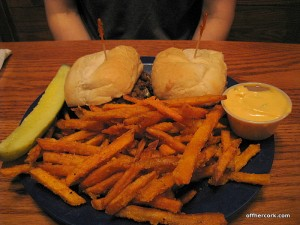 Vegetarian philly cheesesteak and sweet potato fries