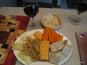 Cheese, fruit, and crackers