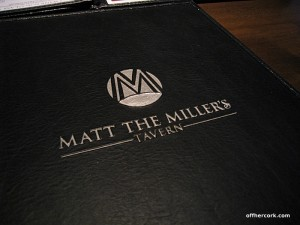 Matt the Miller's Tavern Menu