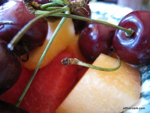 Cherries, watermelon, and cantaloupe