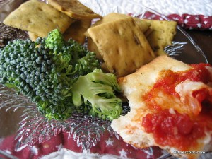 Crackers, broccoli, and pizza crust