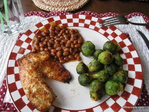 Fish, brussel sprouts, and beans