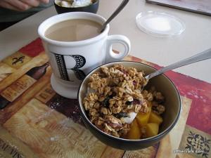 Coffee, yogurt, and granola