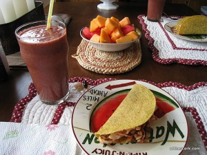 Smoothie, taco, and fruit