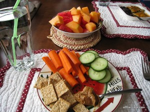 Crackers, carrots, cucumbers, and fruit