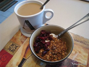 Coffee, granola and yogurt