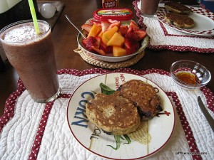 Smoothie, pancakes, and fruit