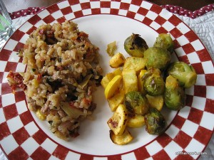 Risotto, squash, and brussel sprouts