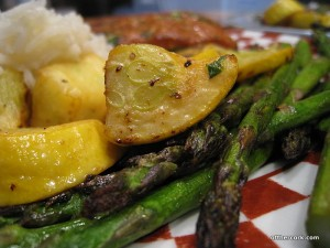 Roasted yellow squash and asparagus