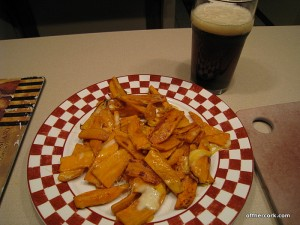 Sweet potato fries and a beer