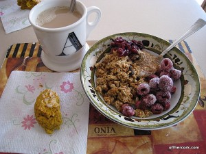 Coffee, scone, yogurt and granola