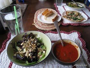 Salad, soup, and bread