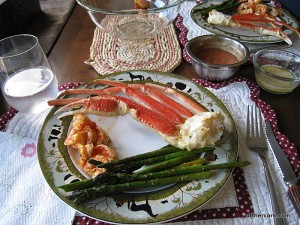 Shrimp, crab legs, asparagus