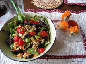Salad and sushi