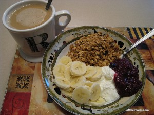 Yogurt, granola, and coffee