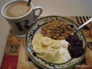 Yogurt, granola, and coffee