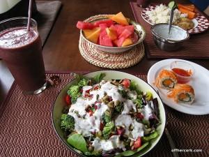 Salad, smoothie, sushi, and fruit
