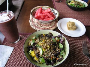 Smoothie, salad, and watermelon