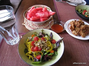 Salad, watermelon, vegan nuggets